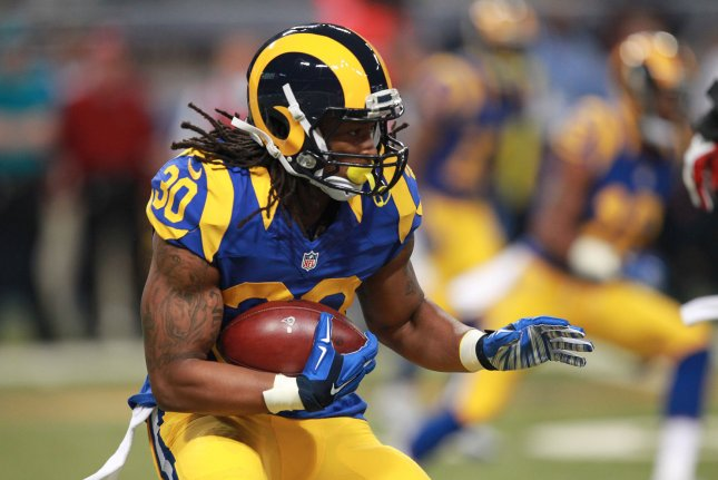 St. Louis Rams' Todd Gurley runs the football in the first quarter against the Arizona Cardinals at the Edward Jones Dome in St. Louis on December 6, 2015. Photo by Bill Greenblatt/UPI