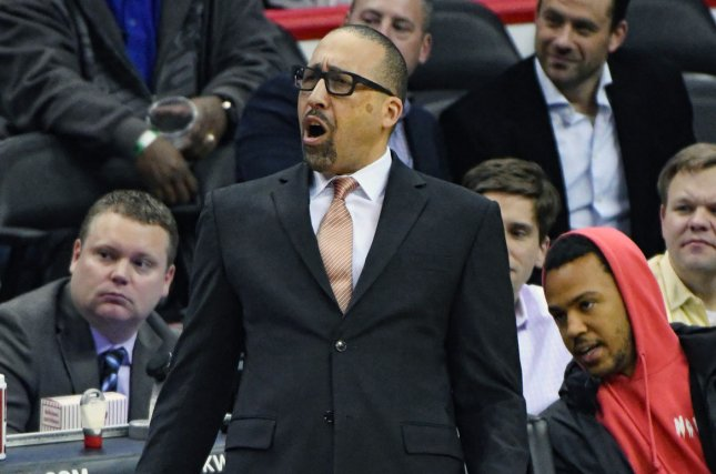 Memphis Grizzlies head coach David Fizdale yells instructions to his team in the first half at the Verizon Center in Washington, D.C. on January 18, 2017. File photo by Mark Goldman/UPI