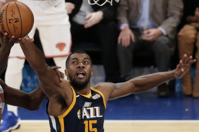 Derrick Favors has played all but 56 of his career games with the Utah Jazz. File Photo by John Angelillo/UPI
