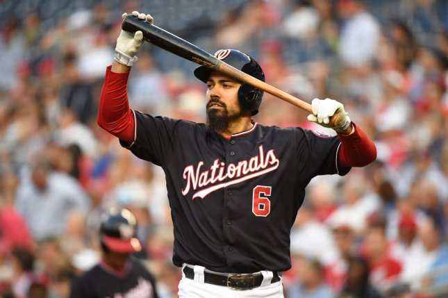 Washington Nationals third baseman Anthony Rendon is skipping the 2019 All-Star Game to rest his body. File Photo by Kevin Dietsch/UPI