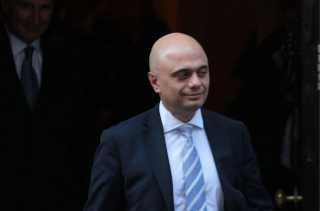 British Chancellor of the Exchequer Sajid Javid said Friday Britain's economy remains strong despite concerns over its EU departure in October. File Photo by Hugo Philpott/UPI