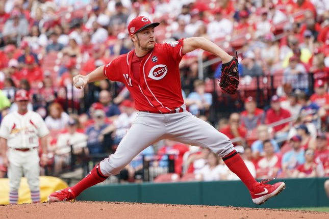 Cincinnati Reds starting pitcher Trevor Bauer is giving away a signed pair of cleats and an autographed baseball. File Photo by Bill Greenblatt/UPI