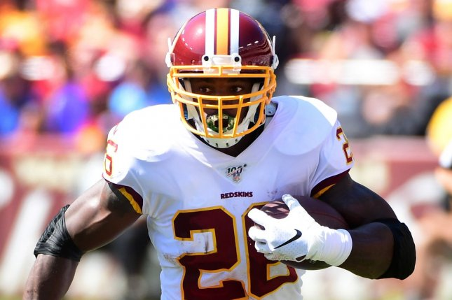 Veteran running back Adrian Peterson was released Friday in a move that leaves the Washington Football Team without a lot of experience at the running back position. File Photo by Kevin Dietsch/UPI