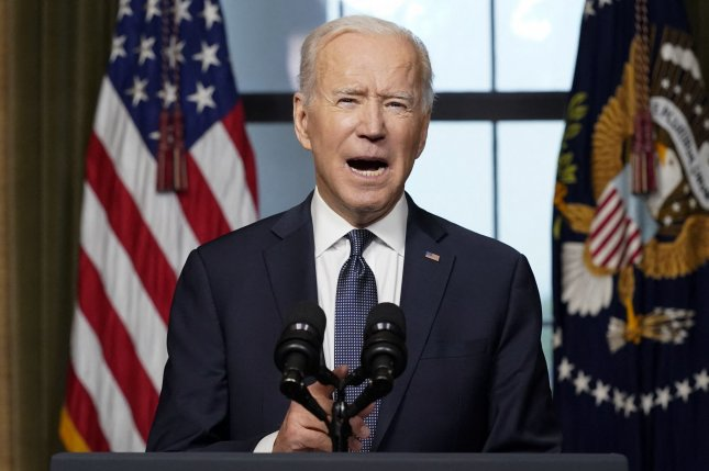 President Joe Biden speaks from the Treaty Room in the White House on Wednesday about the withdrawal of the remainder of U.S. troops from Afghanistan. Pool Photo by Andrew Harnik/UPI