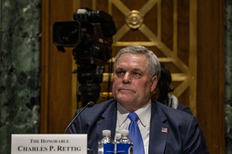IRS Commissioner Charles Rettig testifies at a Senate finance hearing at the U.S Capitol in Washington, D.C., on April 13. File Photo by Tasos Katopodis/UPI