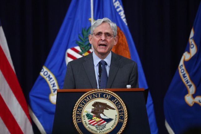 U.S. Attorney General Merrick Garland delivers remarks on voting rights at the U.S. Department of Justice in Washington, D.C., on Friday. Pool photo by Tom Brenner/UPI