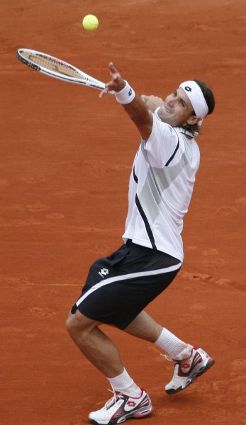 David Ferrer, shown playing in the 2008 French Open, claimed a second-round win Thursday at the Swedish Open. (UPI Photo/ David Silpa)