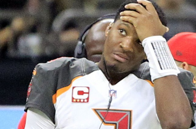 Tampa Bay Buccaneers quarterback Jameis Winston (3) watches the game with the New Orleans Saints from the sideline after he was pulled before the start of the second half on November 5 at Mercedes-Benz Superdome in New Orleans. Photo by AJ Sisco/UPI