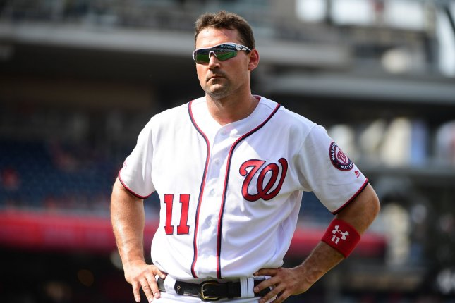 Washington Nationals first baseman Ryan Zimmerman is hitting .213 this season with three homers and 11 runs batted in. He has been placed on the 10-day injured list with plantar fasciitis. File Photo by Kevin Dietsch/UPI