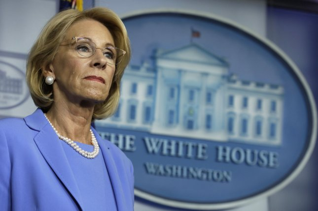 Education Secretary Betsy DeVos, shown at a news conference on March 27, 2020, announced Wednesday new guidelines related to sexual misconduct allegations made under Title IX. Photo by Yuri Gripas/UPI