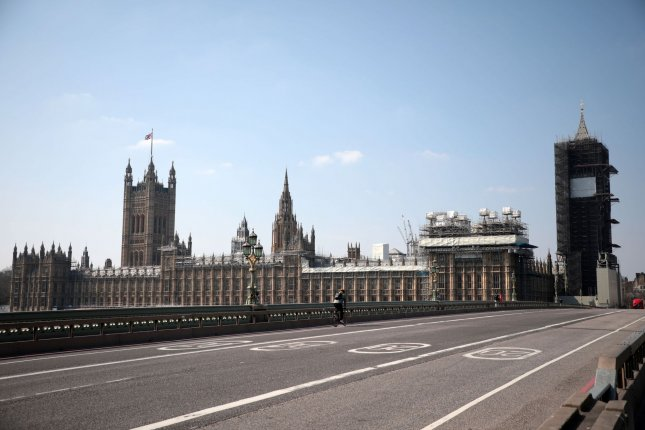 A street near British Parliament is seen empty on March 27 after Prime Minister Boris Johnson imposed a national lockdown due to the coronavirus pandemic. File Photo by Hugo Philpott/UPI