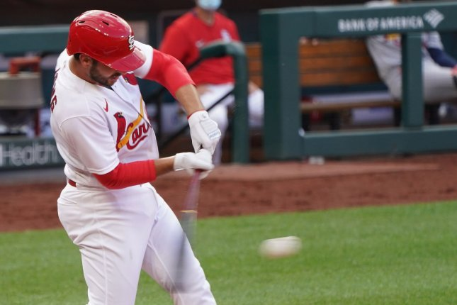 St. Louis Cardinals infielder Paul DeJong went 2 for 2 with four RBIs in an intrasquad game Thursday at Busch Stadium in St. Louis. Photo by Bill Greenblatt/UPI