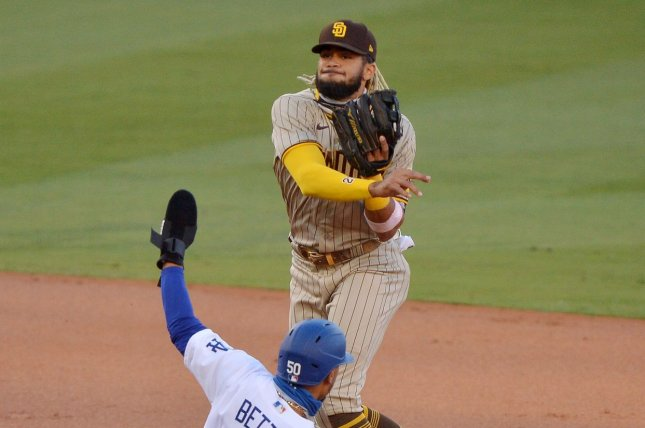 San Diego Padres shortstop Fernando Tatis Jr. on Wednesday signed the longest contract extension in MLB history. File Photo by Jim Ruymen/UPI