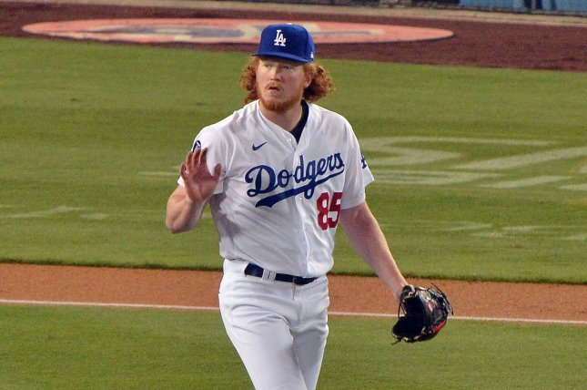 Los Angeles Dodgers starting pitcher Dustin May, shown April 14, 2021, had a 2.74 ERA through five starts this season. File Photo by Jim Ruymen/UPI