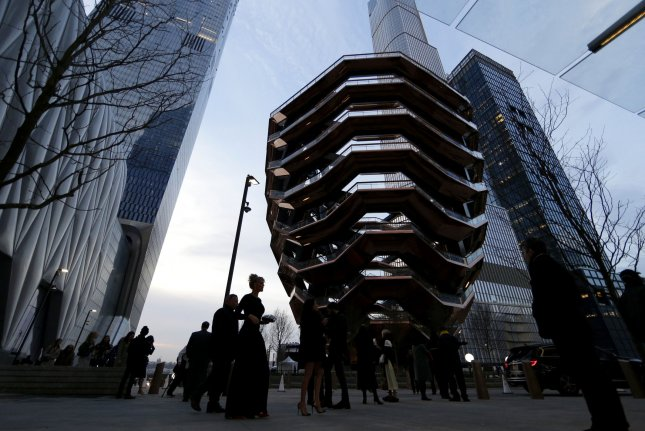 Four people have died by suicide at the 150-foot-tall Vessel structure in Hudson Yards in New York City. File Photo by John Angelillo/UPI