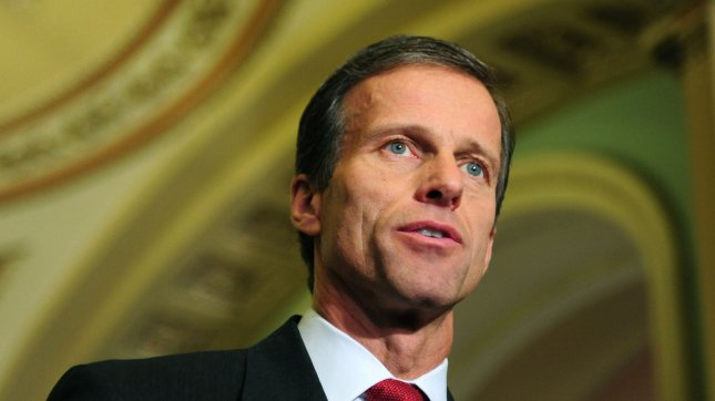 Sen. John Thune, R-S.D., says it's a tossup over whether Republicans will grab a majority in the Senate. Dec. 7 file photo. UPI/Kevin Dietsch