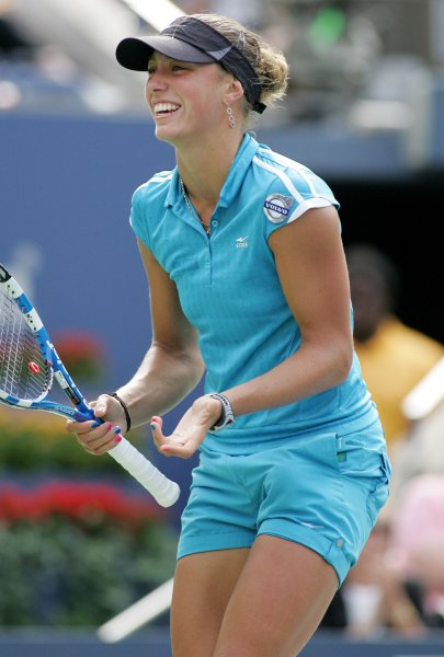 Yanina Wickmayer, shown in a 2009 file photo, became the lone seeded player to advance to the quarterfinals of the OEC Taipei WTA Challenger tournament when she won in straight sets Thursday. Wickmayer is seeded No. 2 in the event. UPI /Monika Graff