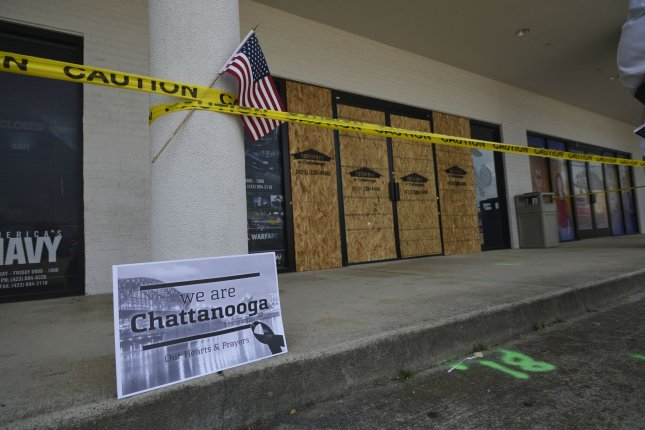 The windows at the U.S. Navy Operational Support Center & Marine Corps Reserve Center in Chattanooga, Tenn., on July 20, 2015 were replaced by plywood. The shootings prompted an Oklahoma survival gear store to declare it a Muslim-free zone, and welcomed volunteer armed guards. File Photo by Billy Weeks/UPI
