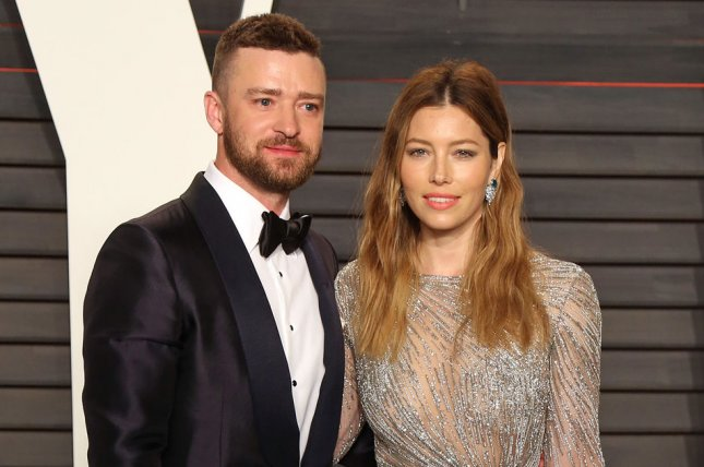 Jessica Biel (R) and Justin Timberlake at the Vanity Fair Oscar party on February 28. The couple welcomed their son in April 2015. File Photo by David Silpa/UPI