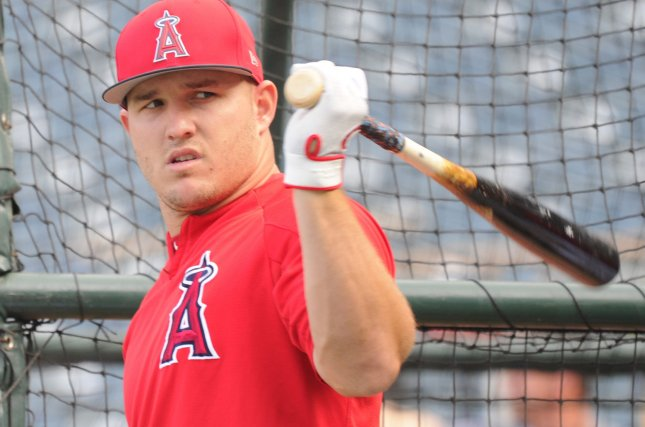 Los Angeles Angels outfielder Mike Trout takes batting practice before a game against the Oakland Athletics on April 6 at Angel Stadium in Anaheim, Calif. Photo by Lori Shepler/UPI