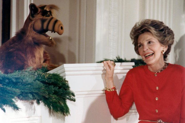 Television character ALF, pictured here with former first lady Nancy Reagan in 1987. An ALF television reboot is in the works File Photo/UPI/The White House