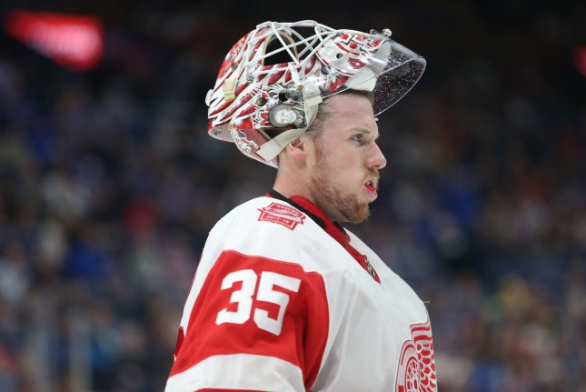 Detroit Red Wings goaltender Jimmy Howard would earn about $4 million in a one-year extension. File Photo by Bill Greenblatt/UPI