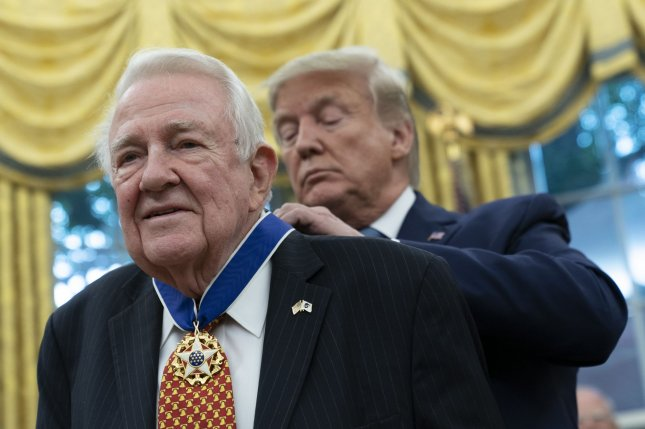 United States President Donald Trump presented the Presidential Medal of Freedom to Edwin Meese at the White House on Tuesday. Photo by Chris Kleponis/UPI