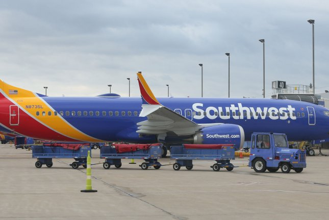A Southwest Airlines 737 Max 8 airliner is parked at Gate 40 at St. Louis-Lambert International Airport in St. Louis, Mo., on March 13, 2019. File Photo by Bill Greenblatt/UPI