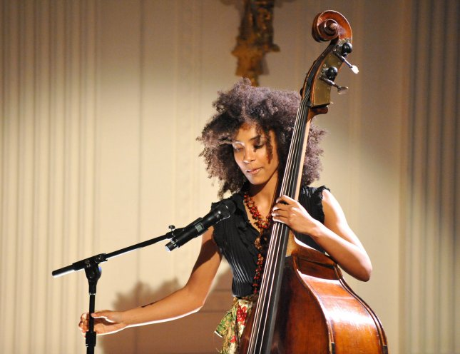 Esperanza Spalding, 24, a 2005 recipient of the Boston Jazz Society scholarship for outstanding musicianship, performs for United States President Barack Obama and First Lady Michelle Obama during An Evening of Poetry, Music and the Spoken Word in the East Room of the White House in Washington, DC on Tuesday, May 12, 2009. (UPI Photo/Ron Sachs/Pool)