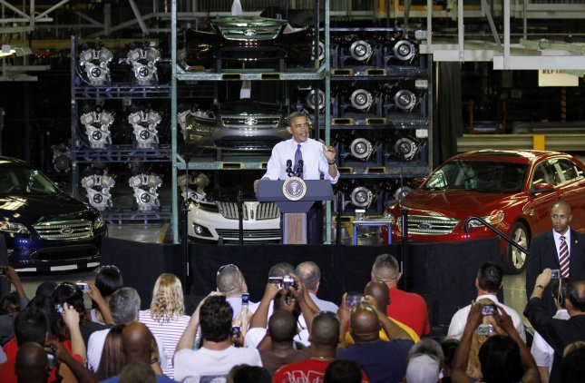 U. S. President Barack Obama speaks at a Ford Motor Co. assembly plant in Chicago on August 5, 2010. UPI/Brian Kersey