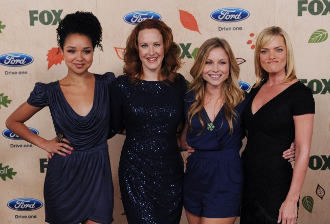 Actresses Aisha Dee, Katie Finneran, Kristi Lauren, and Jaime Pressly (L-R), cast members in the television series I Hate My Teenage Daughter, attends Fox's Fall Eco-Casino party at the Bookbindery in Culver City, California on September 12, 2011. UPI/Jim Ruymen