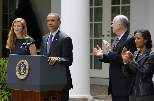 U.S. President Barack Obama speaks accompanied by UN Ambassador Susan Rice (right), who he has chosen as National Security Adviser to replace current National Security Adviser Tom Donilon (2nd right) who is resigning, and Samantha Power (left), his nominee to the next UN Ambassador, in the Rose Garden at the White House on June 5, 2013. UPI/Molly Riley