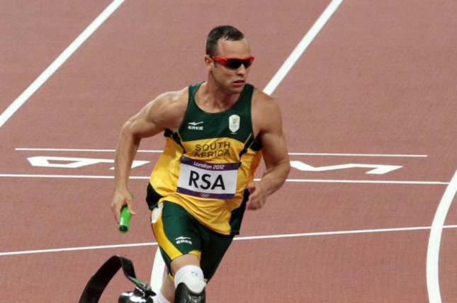South Africa's Oscar Pistorius runs in the Men's 4x400 metres final on the eighth day of the Athletics in the Olympics stadium at the London 2012 Summer Olympics on August 10, 2012 in London. (File/UPI/Hugo Philpott)