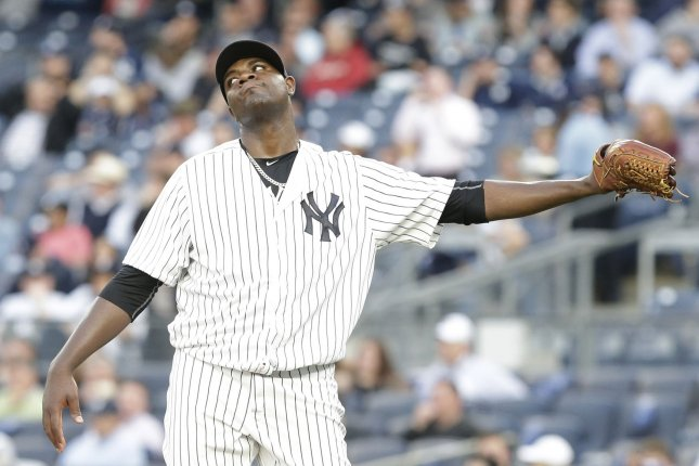 New York Yankees starting pitcher Michael Pineda reacts after Kansas City Royals Salvador Perez hits a 3-run home run in the first inning at Yankee Stadium in New York City on May 11, 2016. Pineda's numbers were hard to explain this season: a 6-12 record, 4.82 ERA, 207 strikeouts and 27 home runs allowed. Manager Joe Girardi described Pineda's season as the most interesting I've ever seen. Photo by John Angelillo/UPI