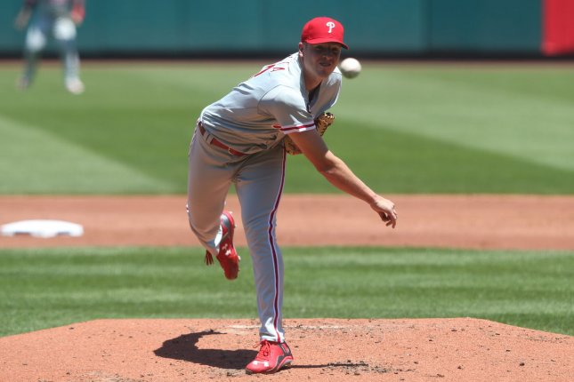 Philadelphia Phillies starting pitcher Nick Pivetta delivers a pitch to the St. Louis Cardinals in the third inning at Busch Stadium in St. Louis on June 10, 2017. File photo by Bill Greenblatt/UPI