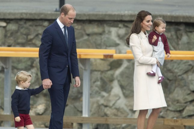 Prince William, his wife Kate Middleton and their children Prince George and Princess Charlotte arrive at Victoria Harbour seaplane terminal in Victoria, B.C., on Oct. 1, 2016. The royal family announced they are expecting a third child. File Photo by Heinz Ruckemann/UPI