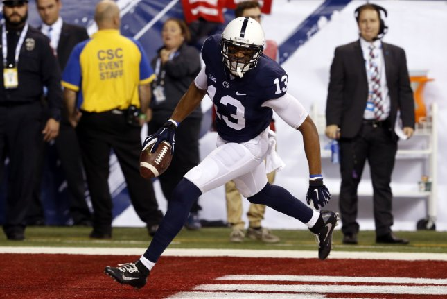 Penn State Nittany Lions wide receiver Saeed Blacknall (13) celebrates after scoring a touchdown against the Wisconsin Badgers in the second half of play in the 2016 Big Ten Football Championship Game on December 3, 2016 in Indianapolis. File photo by John Sommers II/UPI