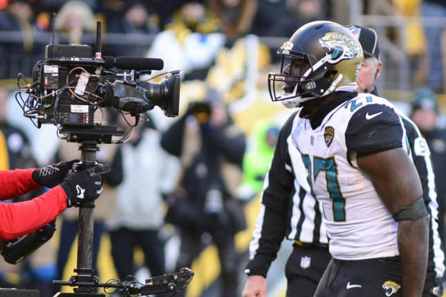 Jacksonville Jaguars running back Leonard Fournette (27) celebrates for the television camera in the fourth quarter on January 14, 2018 at Heinz Field in Pittsburgh. Photo by Archie Carpenter/UPI