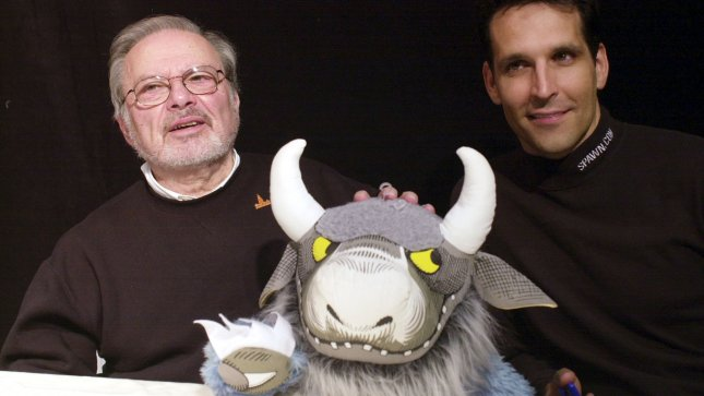 Illustrator Maurice Sendak with award-winning producer/director Todd McFarlane at the debut of the action figure toy line based on Sendak's 1963 book Where The Wild Things Are. Sendak passed away at the age of 83. Ezio Petersen UPI