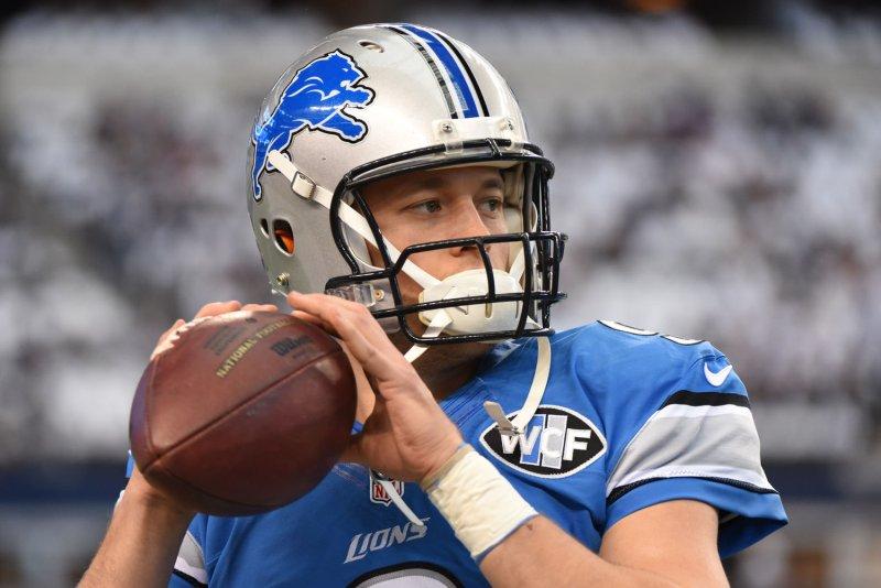 Detroit Lions quarterback Matthew Stafford. Photo by Ian Halperin/UPI