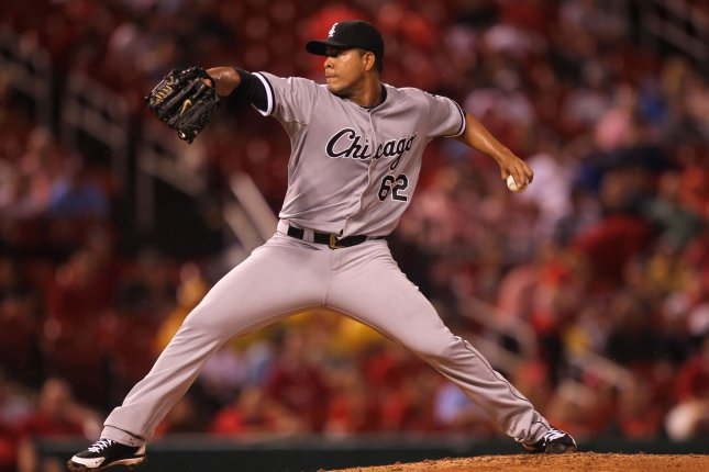 Chicago White Sox starting pitcher Jose Quintana delivers a pitch to the St. Louis Cardinals in the first inning at Busch Stadium in St. Louis. File photo by Bill Greenblatt/UPI