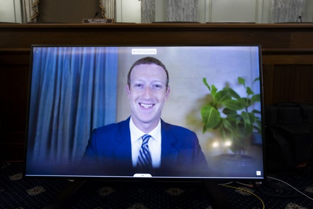 Facebook CEO Mark Zuckerberg speaks remotely during a Senate Commerce, Science, and Transportation Committee hearing in 2020. Pool Photo by Michael Reynolds/UPI