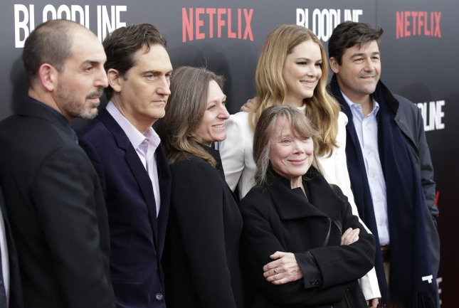 Glenn Kessler (L-R) , Daniel Zelman, Cindy Holland, Sissy Spacek, Jacinda Barrett and Kyle Chandler arrive on the red carpet at the Netflix Bloodline premiere at SVA Theater in New York City on March 3, 2015. Netflix announced the show will end after its upcoming third season. File Photo by John Angelillo/UPI