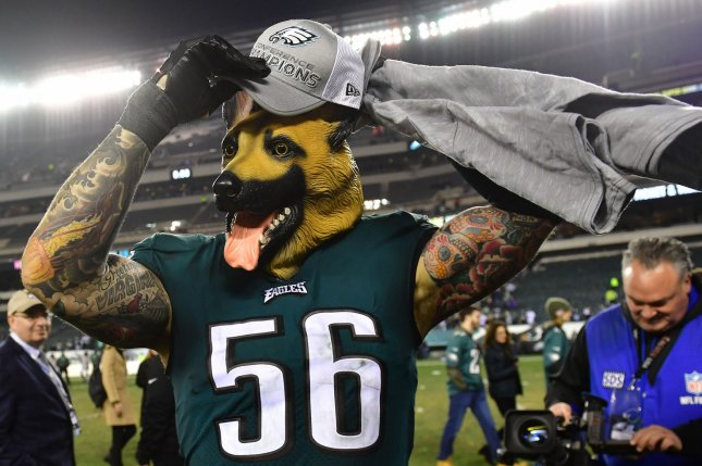 Philadelphia Eagles defensive end Chris Long puts on his NFC championship hat after defeating the Minnesota Vikings in the NFC Championship game on January 21, 2018 at Lincoln Financial Field in Philadelphia, Pennsylvania. Photo by Kevin Dietsch/UPI