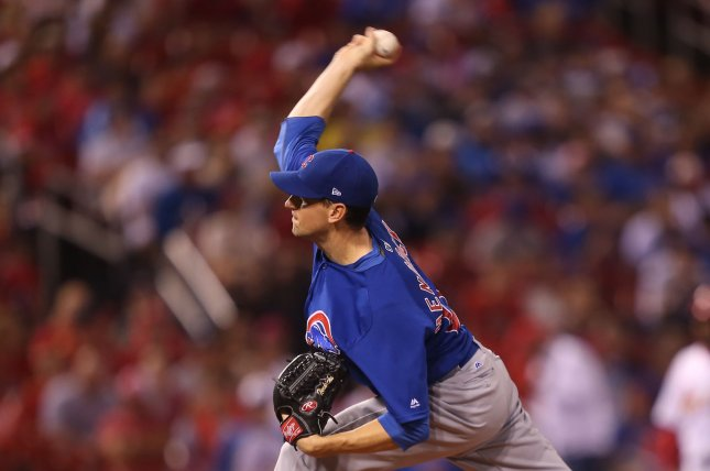 Chicago Cubs starting pitcher Kyle Hendricks delivers a pitch to the St. Louis Cardinals in the first inning on July 29, 2018 at Busch Stadium in St. Louis. Photo by Bill Greenblatt/UPI