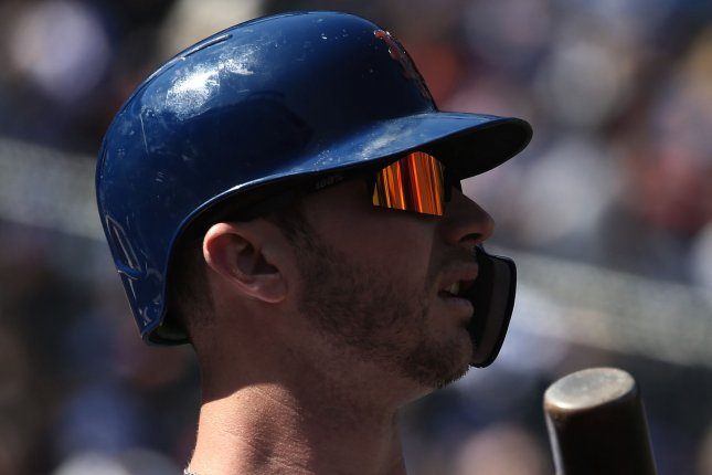 New York Mets first baseman Pete Alonso is one of the leading candidates for National League Rookie of the Year. Alonso hit his 11th home run of the season against the San Diego Padres on Tuesday in San Diego.  File Photo by Peter Foley/UPI