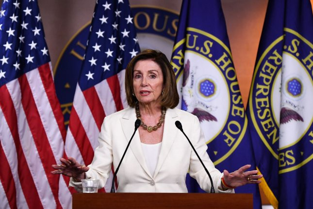Speaker of the House Nancy Pelosi, D-Calif., vowed to oppose a trade deal with Britain post-Brexit if it threatens the Good Friday agreement in Ireland. File Photo by Kevin Dietsch/UPI