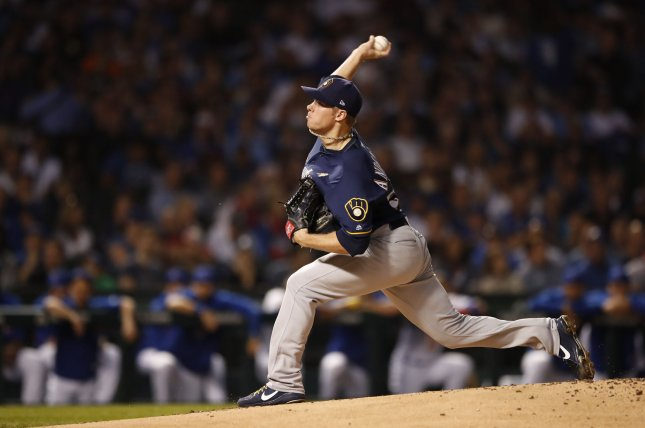 Milwaukee Brewers starting pitcher Chase Anderson was 8-4 with a 4.21 ERA in 27 starts and five relief appearances during the 2019 season. File Photo by Kamil Krzaczynski/UPI