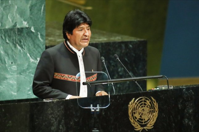 Bolivia President Evo Morales speaks at the 74th General Debate at the United Nations General Assembly at United Nations Headquarters in New York on September 24. File Photo by Monika Graff/UPI