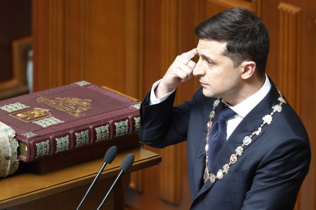 Volodymr Zelensky takes the oath of office during his inauguration ceremony in the parliament in Kiev, Ukraine on May 20, 2019. File Photo by Ivan Vakolenko/UPI